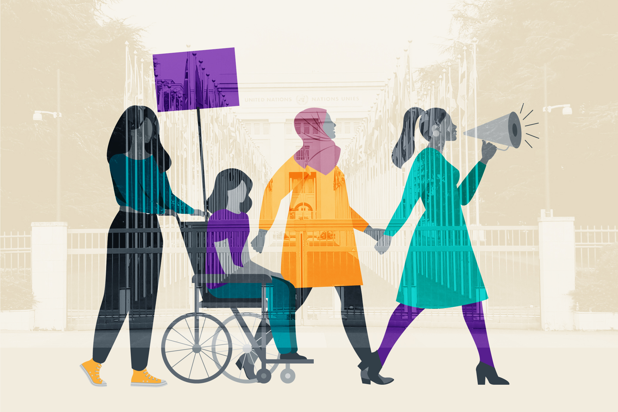 Illusration of four women walking. One is in a wheelchair. Behind is a photo of the UN building in Geneva.