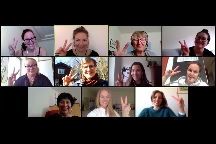Photo of 11 women in from of zoom. All making peace signs with their hands.
