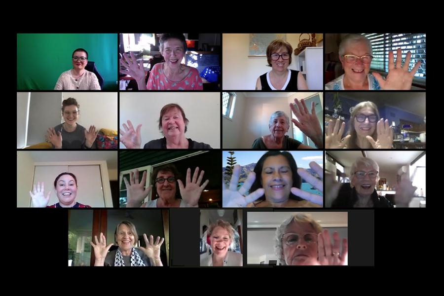 WILPF Australia members waving to their zoom screens.