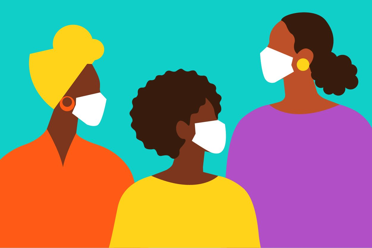 Graphic illustration of three black women. All with masks.